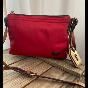 Dooney & Bourke Wayfarer Xbody Red w/leather VGUC